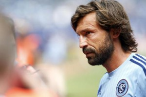 New York City FC's Andrea Pirlo, of Italy, walks off the pitch after warming up before an MLS soccer game against Orlando City SC at Yankee Stadium, Sunday, July 26, 2015, in New York. New York defeated Orlando 5-3. (ANSA/AP Photo/Jason DeCrow)