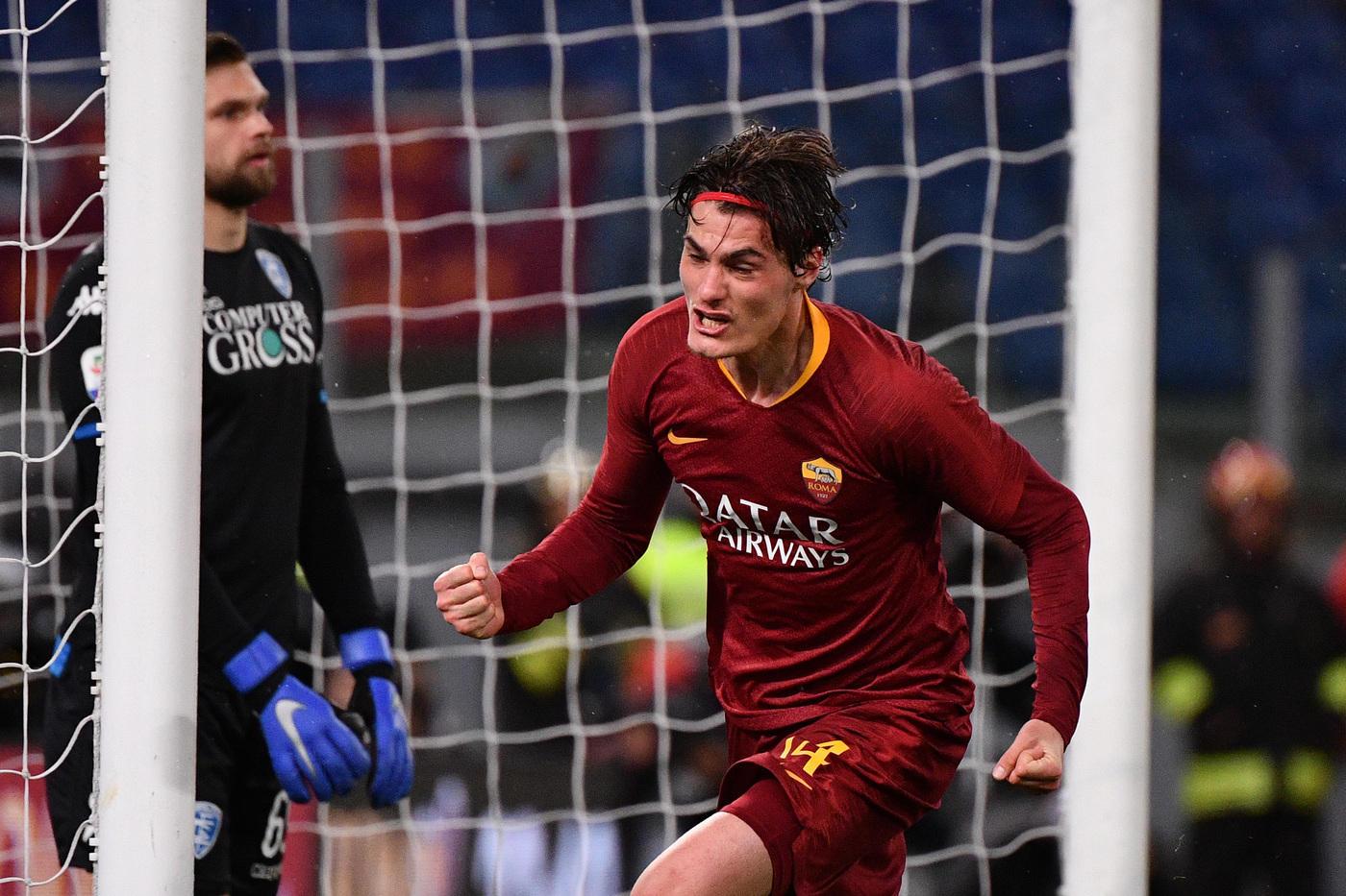 Esultanza Schick buona fortuna Mister Ranieri Roma vs Empoli