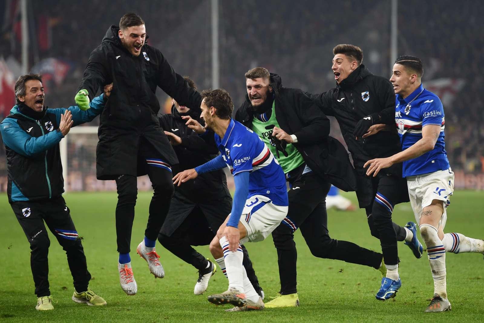 Genoa-Sampdoria, esultanza gol Gabbiadini